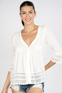 Single Buttoned Lace Crochet Trim Top - Adventurista Boutique