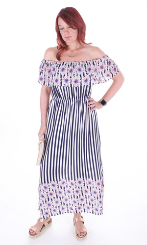 Off The Shoulder Floral And Stripes Ruffle Dress - Adventurista Boutique