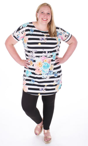 Flower and Stripes Tunic - Adventurista Boutique
