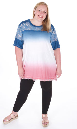 Ombre And Lace Tunic - Adventurista Boutique