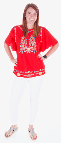 Red Floral Embroidery Top - Adventurista Boutique