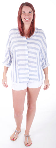Blue Striped Button Down Shirt - Adventurista Boutique