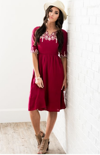 Don't Want to Miss a Thing Dress in Burgundy - Adventurista Boutique