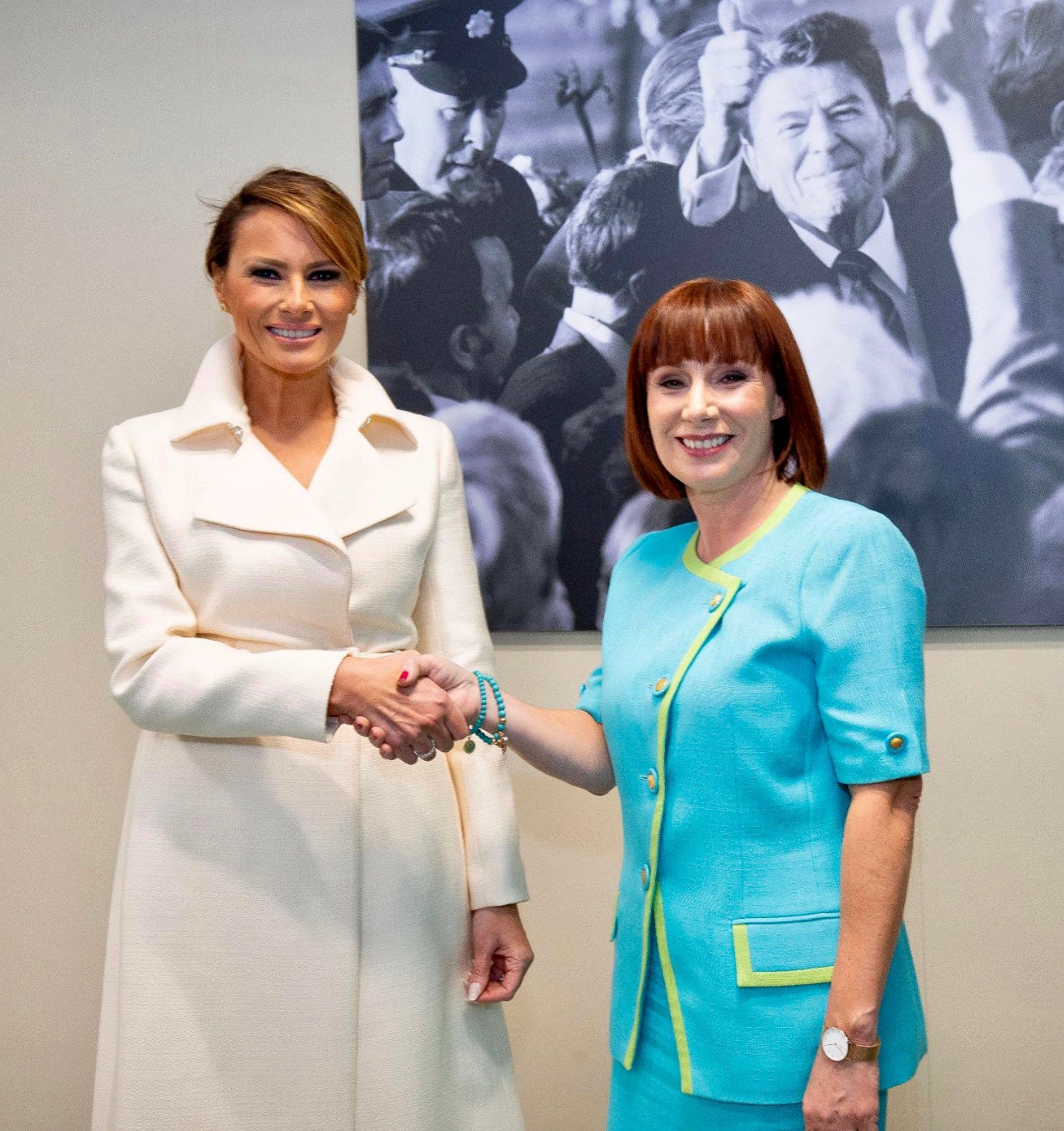 7th Heaven Jewellery Turquoise Collection Minister Josepha Madigan and First Lady Melania Trump
