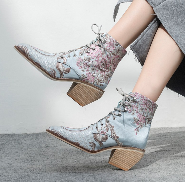 Jasmine Floral Ankle Boots