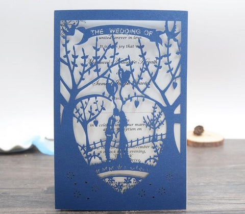 Blue Laser Cut Wedding Invitations - 50 Cards