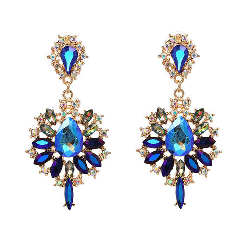 Blue Crystal Iridescent Statement Earrings