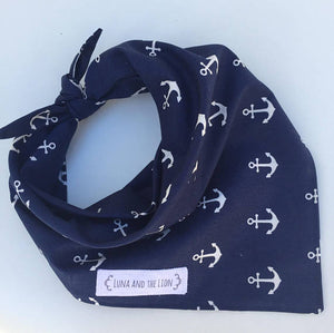 Hand Made Dog Bandana with Anchors -  Navy Blue