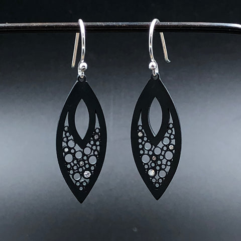 Oxidized Open Leaf Earrings