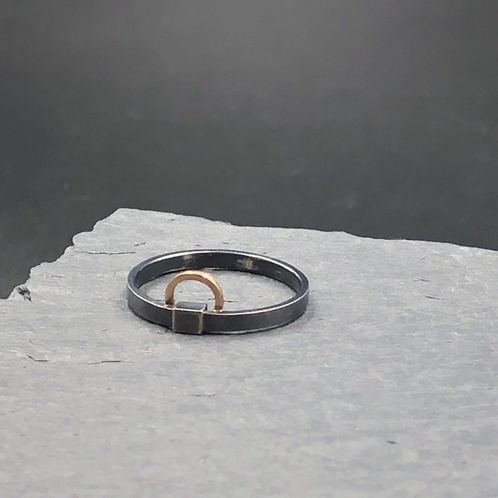 Gold Circle and Square Ring