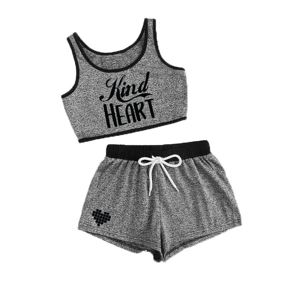 KIND HEART Girls Grey Crop Top and Shorts Set - FABVOKAB