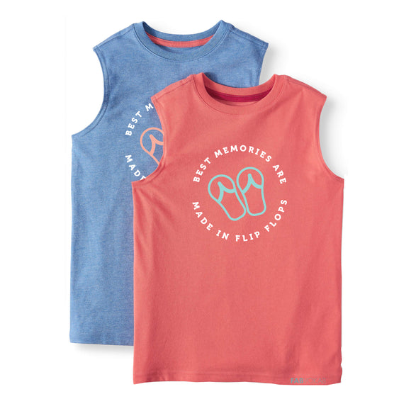 BEST MEMORIES ARE MADE IN FLIP FLOPS Unisex Kids Summer Sleevless Top - FABVOKAB