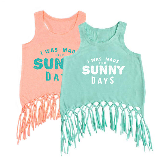 I WAS MADE FOR SUNNY DAYS GIRLS  FRINGE Tank Top - FABVOKAB