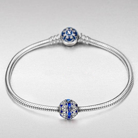 Bracelet Charm – Blue Bead and Heart Design