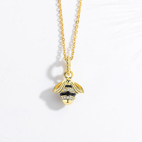 Bee necklace Pendant - Gold Plated Enamel