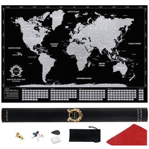 Black and Silver Scratch off World Map