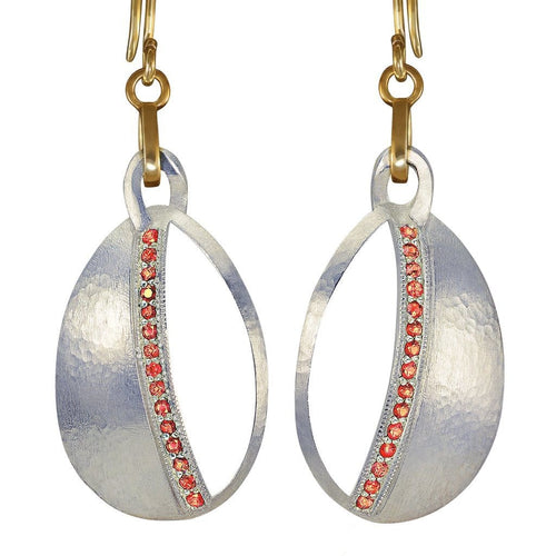 Orange Sapphire Silver and Gold Dangle Earrings - Curated Los Angeles
