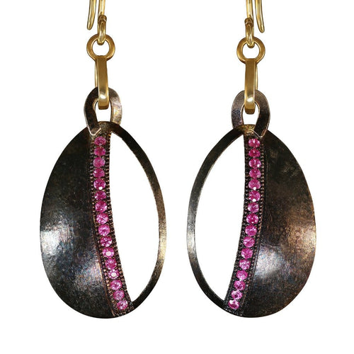 Ruby Black Rhodium and Gold Dangle Earrings - Curated Los Angeles