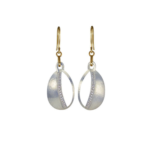 White Sapphire Silver and Gold Dangle Earrings - Curated Los Angeles