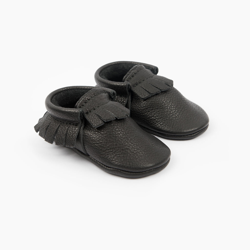 amy and ivor black baby eco leather baby moccasins uk