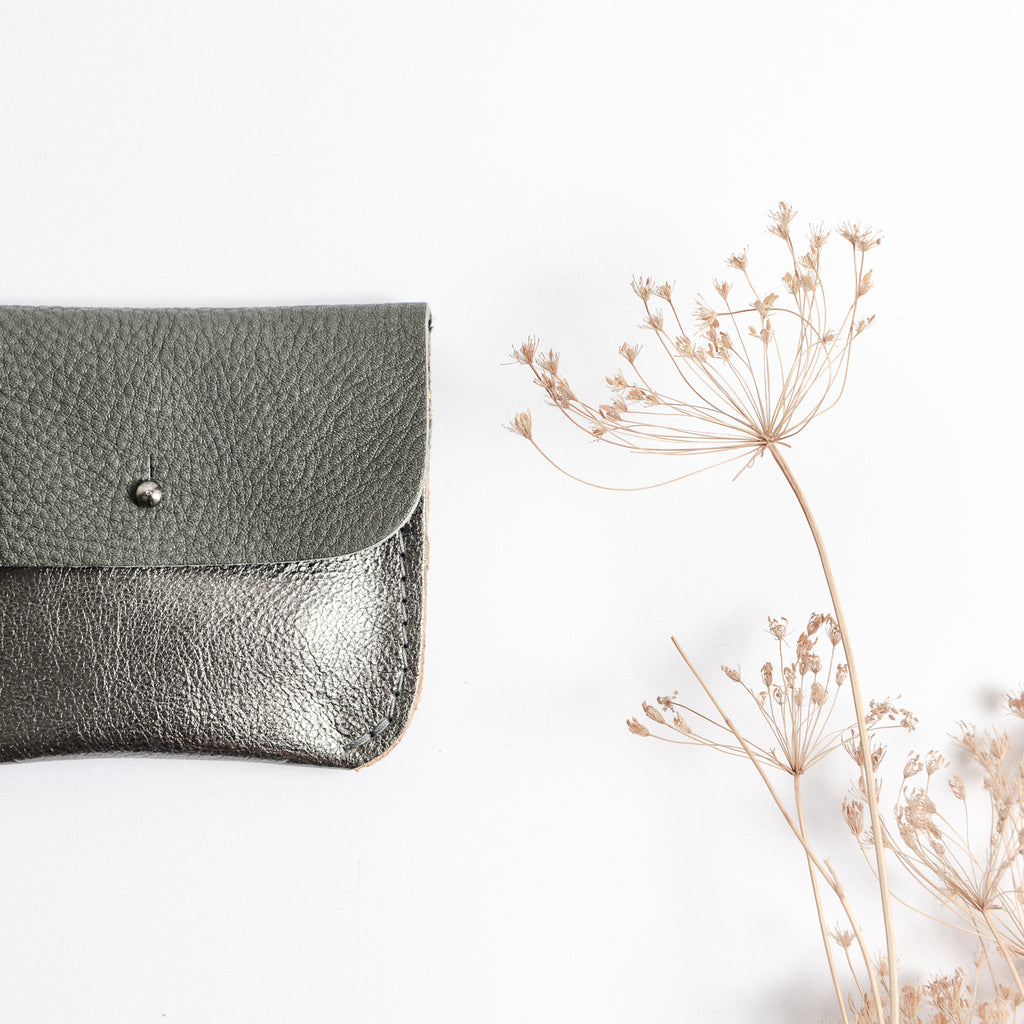 DARK SILVER + SLATE COIN/CARD PURSE