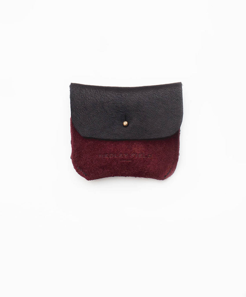 BLACK + BORDEAUX SUEDE TWO POCKET COIN/CARD PURSE - Hedley Field