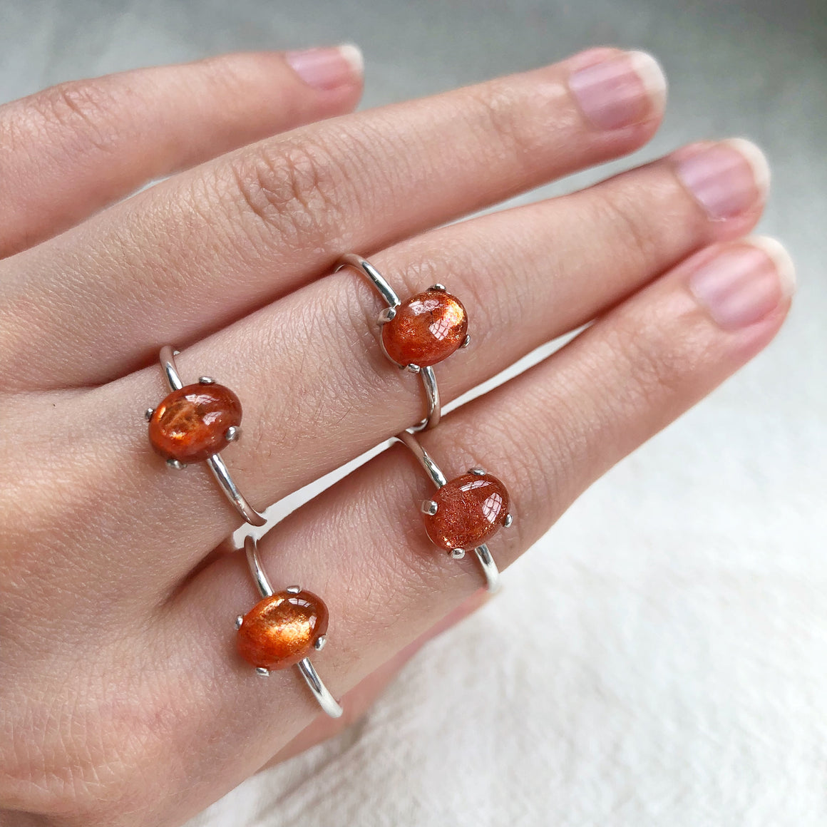 Sunstone Silver Rings (Prong setting)