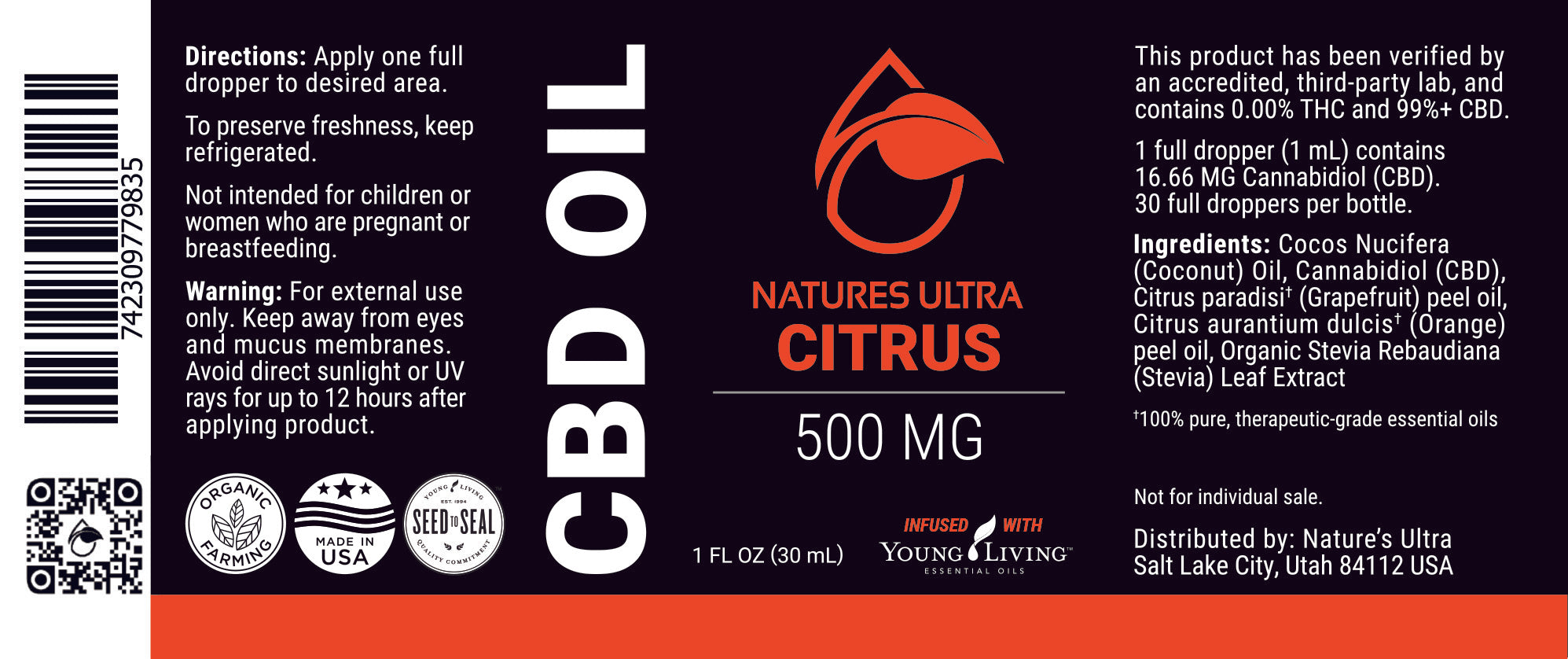 Citrus CBD Oil Label from Nature's Ultra