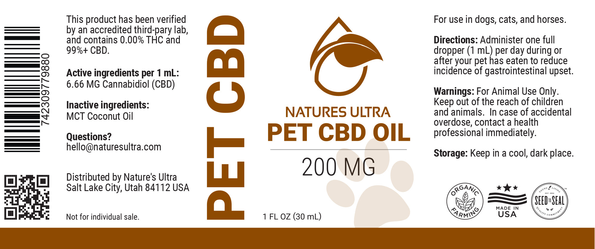 Pet CBD Oil Label from Nature's Ultra