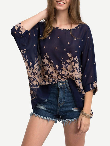 Round Neck Semi-Sheer Batwing Sleeve Floral Blouse Top
