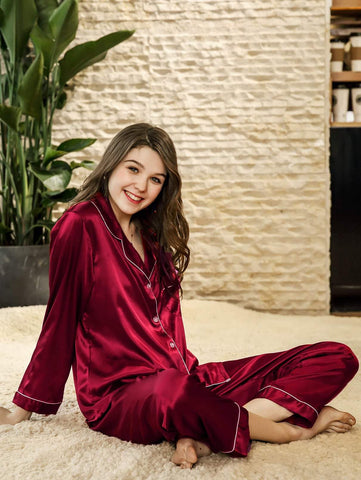 Red Solid Button Up Shirt & Pants Sleewear Set