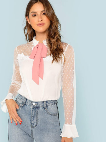 Stand Collar 100% Polyester Lace Applique Mesh Insert Ruffle Cuff Tie Neck Blouse