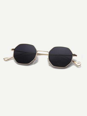 Black Polygon Frame Sunglasses