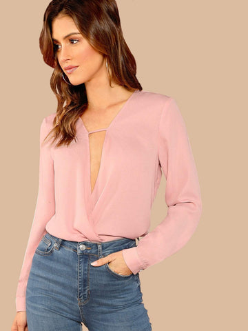 Polyester Long Sleeve Cutout Surplice V Neck Solid Blouse Top