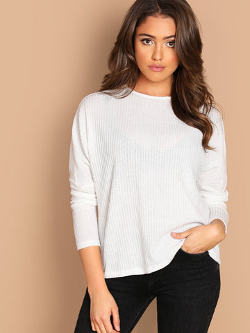 White Long Sleeve Round Neck Solid Rib-Knit Pullover
