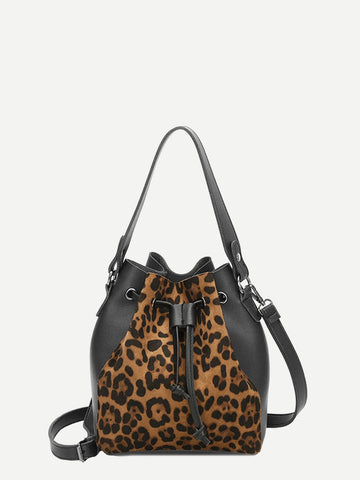 Black Leopard Print Bag With Drawstring