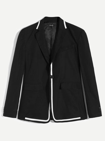 Regular Fit Black Contrast Tape Notch Neck Blazer