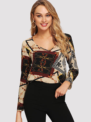 V-neck Chain Scarf Print Top
