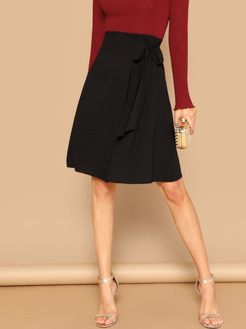 Polyester Belted Solid Knot Jersey Skirt