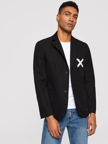 Black Single Breasted Pocket Front Blazer