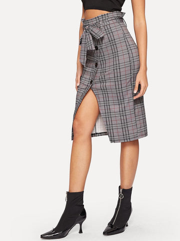 Grey Waist Belted Single Breasted Split Plaid Skirt