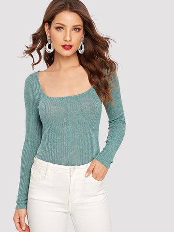 Turquoise Rib Knit Form Fitted Long Sleeve Scoop Neck Top