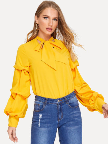 Yellow Stand Collar Polyester Tie Neck Lantern Sleeve Solid Top