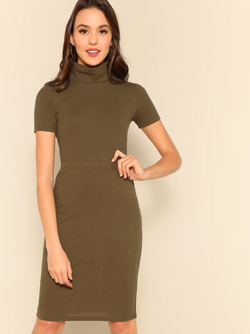 Army Green High Neck Rib-knit Fitted Tee & Skirt Set