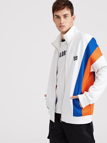 Stand Collar Zip Up Cut-and-Sew Graphic Print Jacket