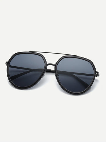 Black Top Bar Flat Lens Sunglasses