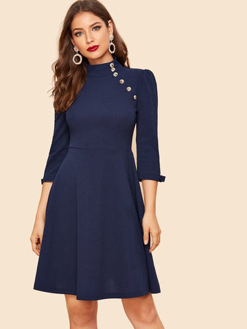 Button Detail Bow Cuff Fit & Flare Stand Collar Blue Dress