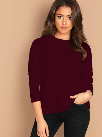 Burgundy Round Neck Long Sleeve Rib-knit Solid Tee