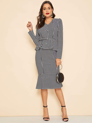 Black and White 30s Waist Belted Houndstooth Peplum Coat & Skirt Set