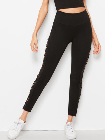 Black Laser Cut Side Seam Leggings